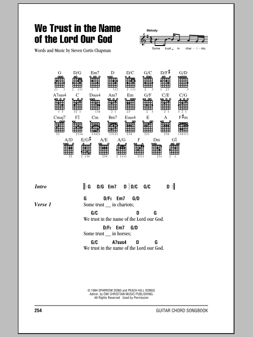 Download Steven Curtis Chapman We Trust In The Name Of The Lord Our God sheet music and printable PDF score & Pop music notes
