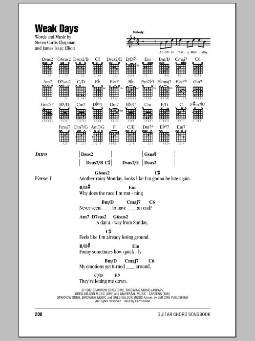 Download Steven Curtis Chapman Weak Days sheet music and printable PDF score & Pop music notes