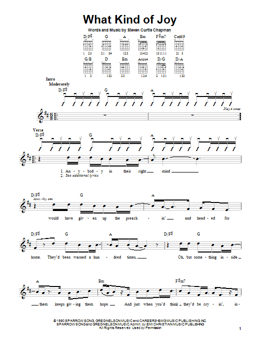 Download Steven Curtis Chapman What Kind Of Joy sheet music and printable PDF score & Pop music notes