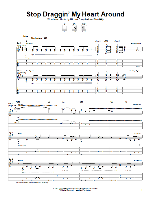 Download Stevie Nicks with Tom Petty Stop Draggin' My Heart Around sheet music and printable PDF score & Rock music notes