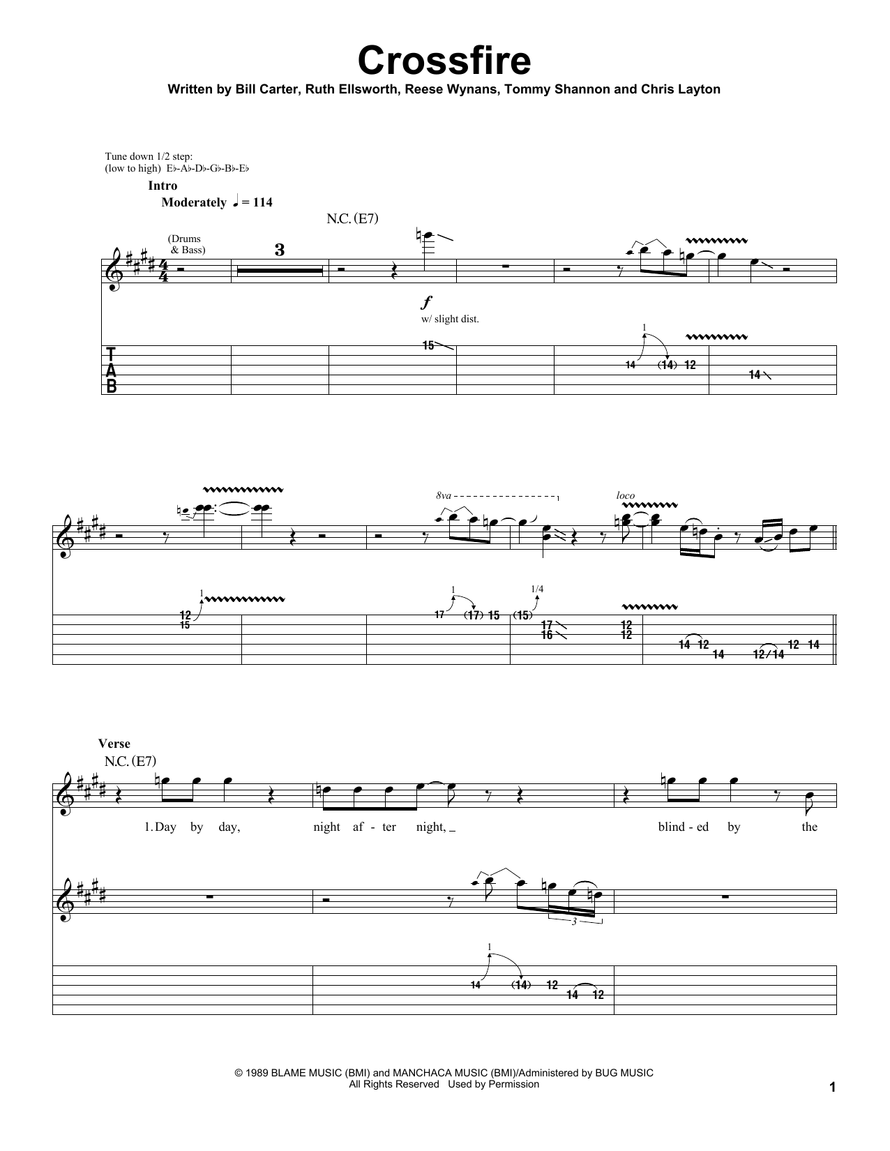 Download Stevie Ray Vaughan Crossfire sheet music and printable PDF score & Pop music notes