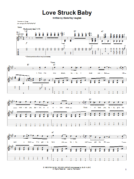 Download Stevie Ray Vaughan Love Struck Baby sheet music and printable PDF score & Pop music notes