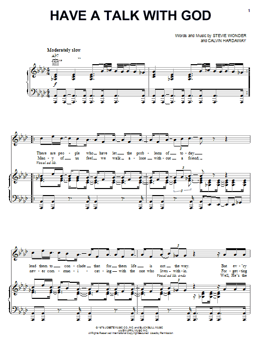 Download Stevie Wonder Have A Talk With God sheet music and printable PDF score & Pop music notes