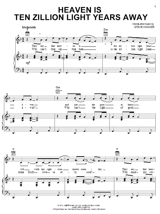 Download Stevie Wonder Heaven Is Ten Zillion Light Years Away sheet music and printable PDF score & Pop music notes