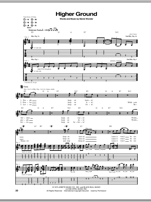 Download Stevie Wonder Higher Ground sheet music and printable PDF score & Pop music notes