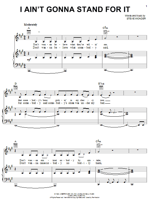 Download Stevie Wonder I Ain't Gonna Stand For It sheet music and printable PDF score & Pop music notes