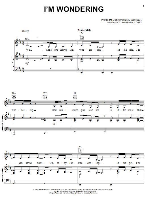 Download Stevie Wonder I'm Wondering sheet music and printable PDF score & Pop music notes