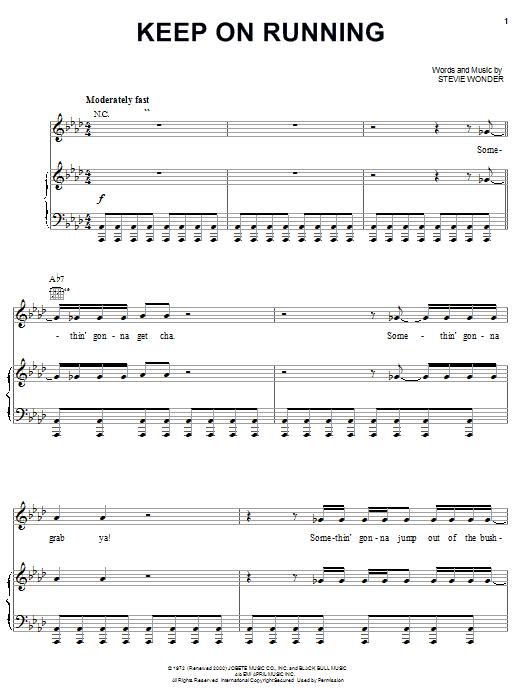 Download Stevie Wonder Keep On Running sheet music and printable PDF score & Pop music notes