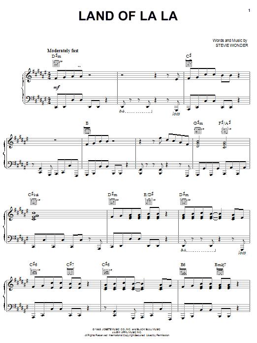 Download Stevie Wonder Land Of La La sheet music and printable PDF score & Pop music notes