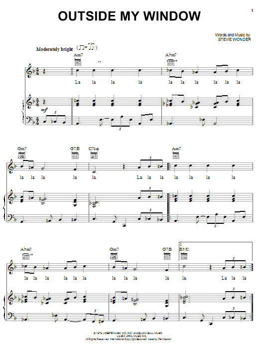 Download Stevie Wonder Outside My Window sheet music and printable PDF score & Pop music notes