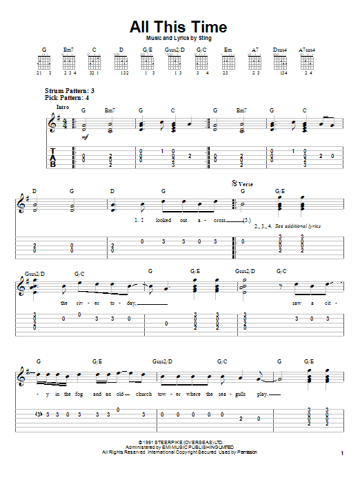 Download Sting All This Time sheet music and printable PDF score & Rock music notes
