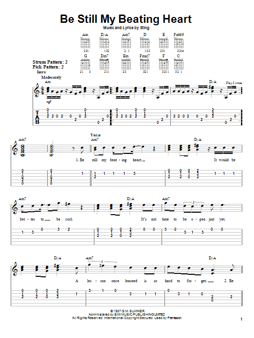 Download Sting Be Still My Beating Heart sheet music and printable PDF score & Pop music notes