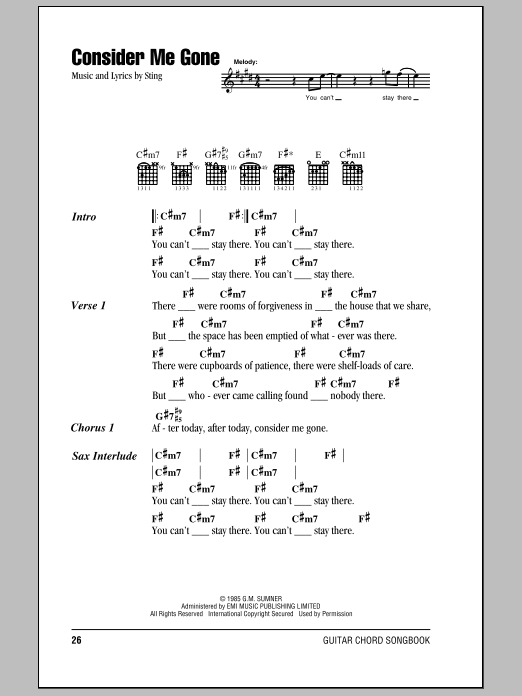 Download Sting Consider Me Gone sheet music and printable PDF score & Rock music notes