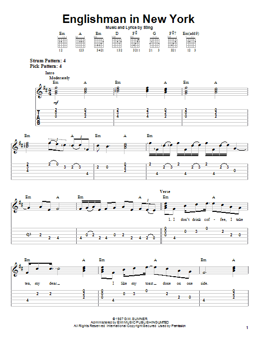 Download Sting Englishman In New York sheet music and printable PDF score & Rock music notes