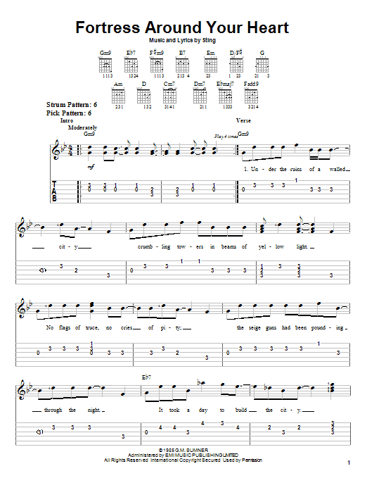 Download Sting Fortress Around Your Heart sheet music and printable PDF score & Rock music notes