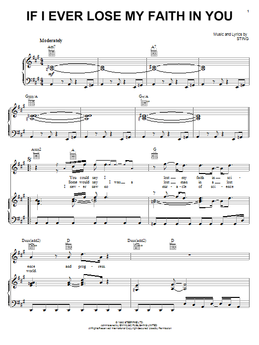 Download Sting If I Ever Lose My Faith In You sheet music and printable PDF score & Pop music notes