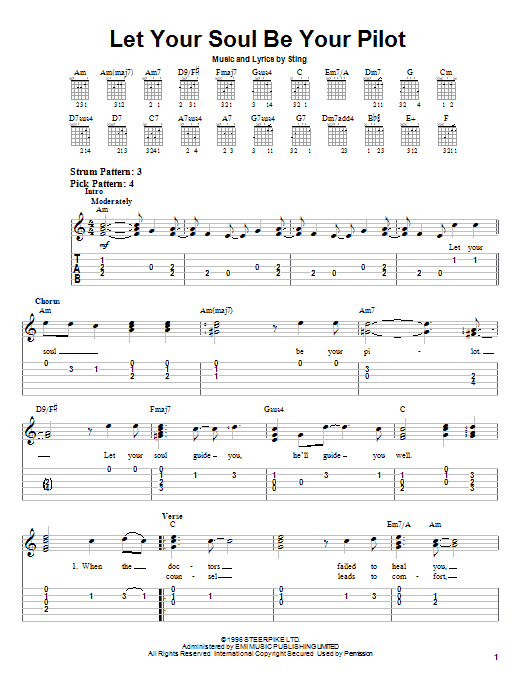Download Sting Let Your Soul Be Your Pilot sheet music and printable PDF score & Rock music notes