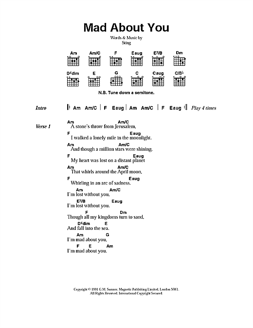 Download Sting Mad About You sheet music and printable PDF score & Rock music notes