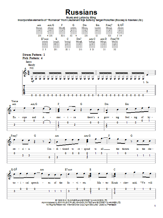 Download Sting Russians sheet music and printable PDF score & Rock music notes