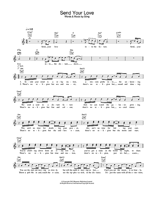 Download Sting Send Your Love sheet music and printable PDF score & Rock music notes