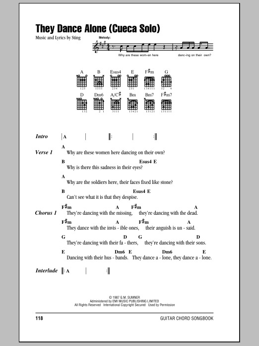 Download Sting They Dance Alone (Cueca Solo) sheet music and printable PDF score & Rock music notes