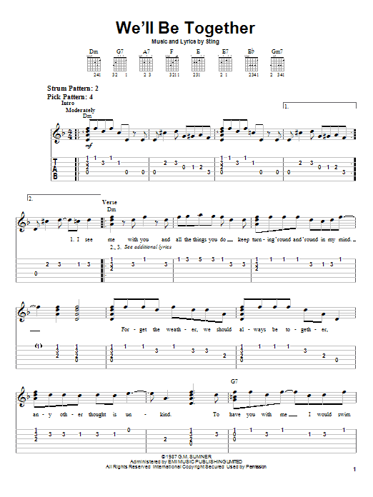 Download Sting We'll Be Together sheet music and printable PDF score & Rock music notes