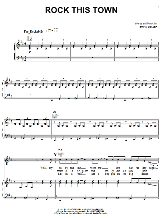 Download Stray Cats Rock This Town sheet music and printable PDF score & Rock music notes