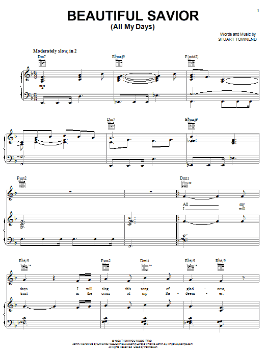 Download Stuart Townend Beautiful Savior (All My Days) sheet music and printable PDF score & Pop music notes