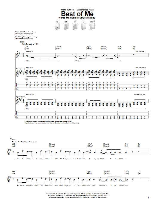 Download Sum 41 Best Of Me sheet music and printable PDF score & Pop music notes