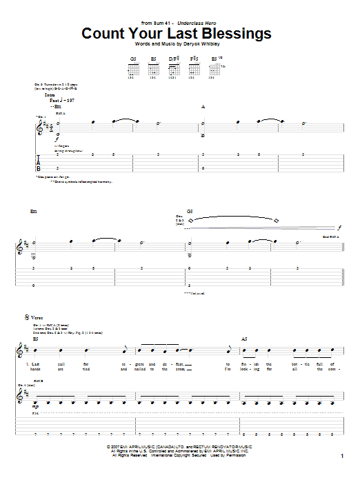 Download Sum 41 Count Your Last Blessings sheet music and printable PDF score & Pop music notes