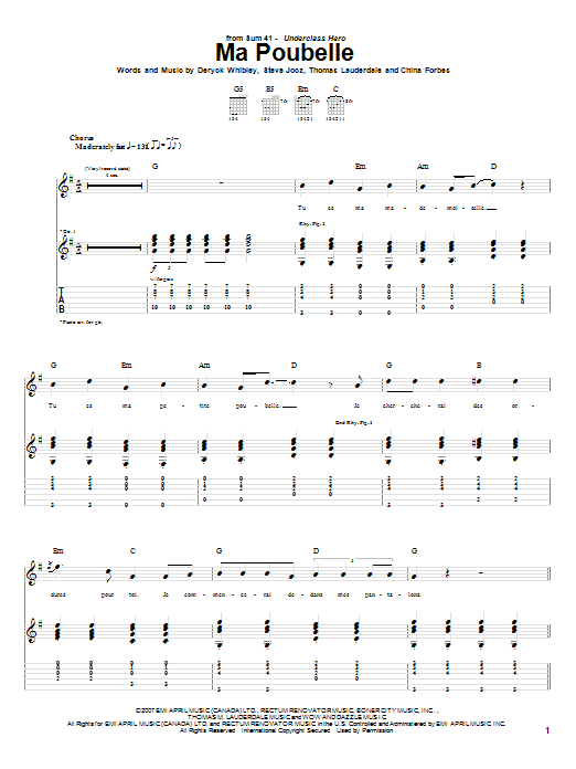 Download Sum 41 Ma Poubelle sheet music and printable PDF score & Pop music notes