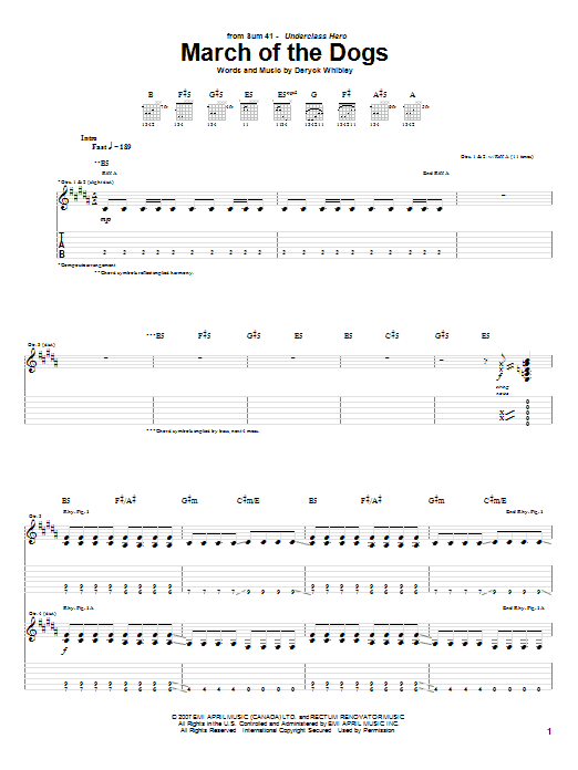 Download Sum 41 March Of The Dogs sheet music and printable PDF score & Pop music notes