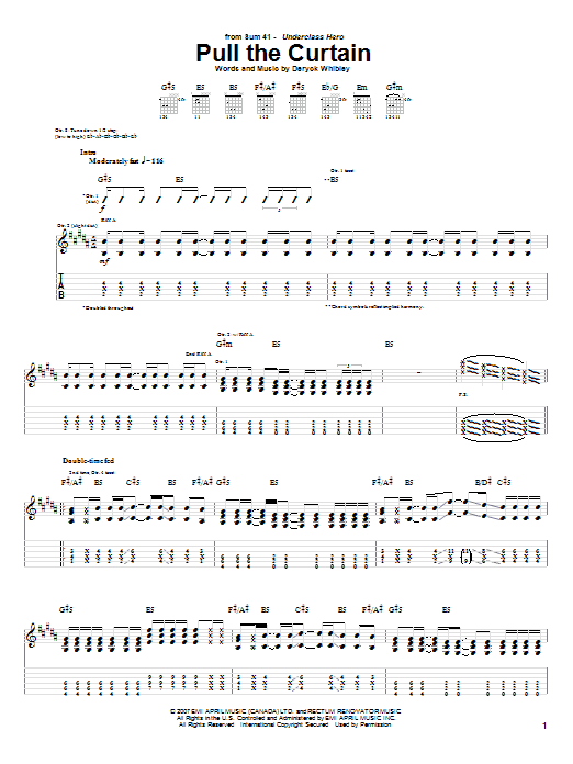 Download Sum 41 Pull The Curtain sheet music and printable PDF score & Pop music notes