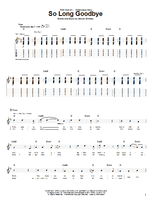 Download Sum 41 So Long Goodbye sheet music and printable PDF score & Pop music notes