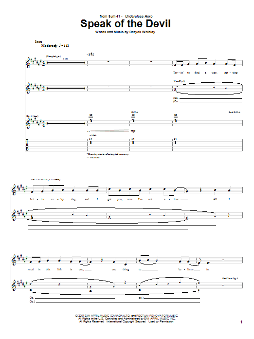 Download Sum 41 Speak Of The Devil sheet music and printable PDF score & Pop music notes