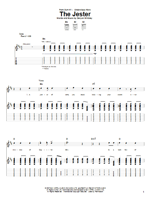 Download Sum 41 The Jester sheet music and printable PDF score & Pop music notes
