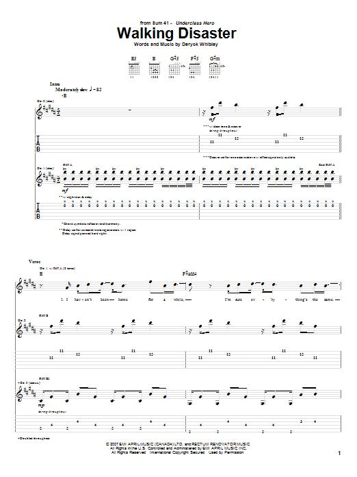 Download Sum 41 Walking Disaster sheet music and printable PDF score & Pop music notes