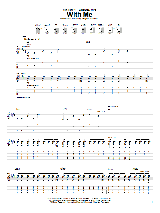 Download Sum 41 With Me sheet music and printable PDF score & Pop music notes