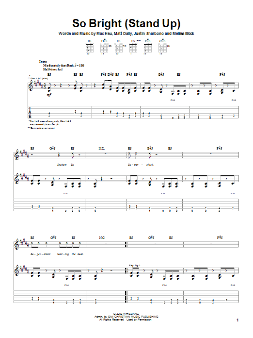 Download Superchick So Bright (Stand Up) sheet music and printable PDF score & Rock music notes