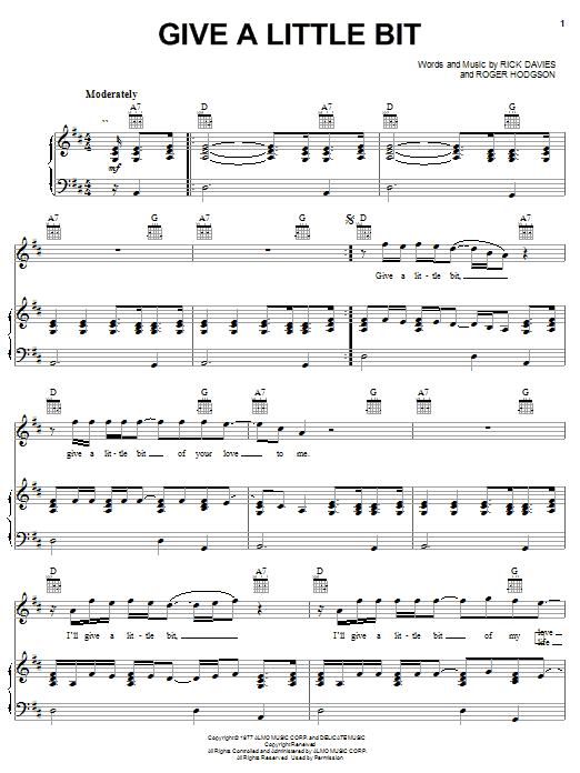 Download Supertramp Give A Little Bit sheet music and printable PDF score & Rock music notes