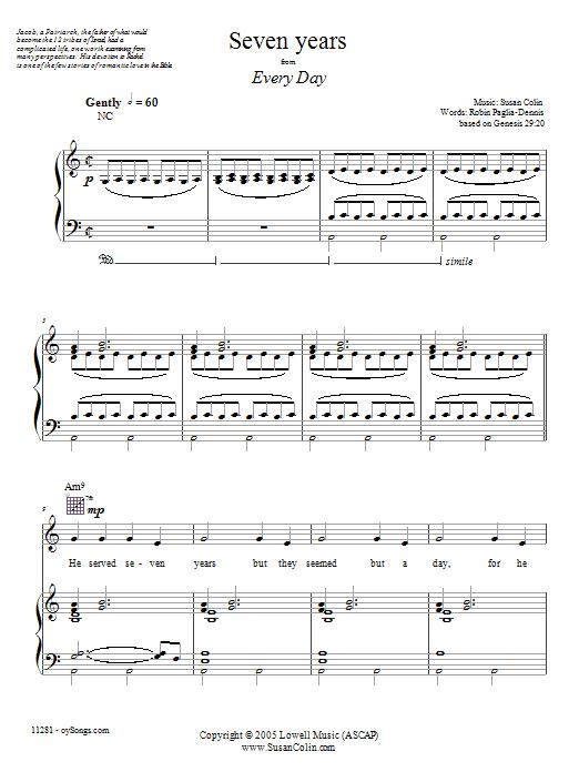 Download Susan Colin Seven Years sheet music and printable PDF score & Spiritual music notes