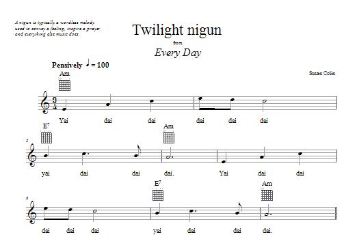 Download Susan Colin Twilight Nigun sheet music and printable PDF score & Religious music notes