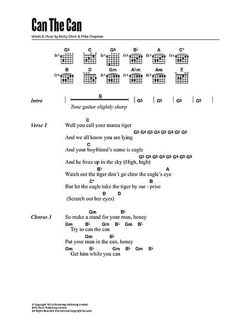 Download Suzi Quatro Can The Can sheet music and printable PDF score & Rock music notes
