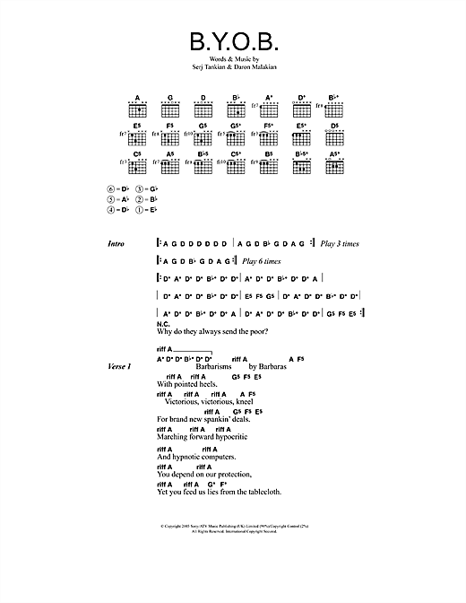Download System Of A Down B.Y.O.B. sheet music and printable PDF score & Rock music notes