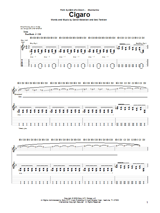 Download System Of A Down Cigaro sheet music and printable PDF score & Pop music notes