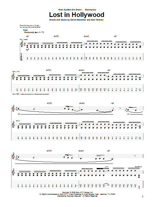 Download System Of A Down Lost In Hollywood sheet music and printable PDF score & Rock music notes