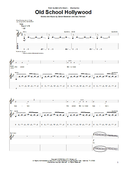 Download System Of A Down Old School Hollywood sheet music and printable PDF score & Rock music notes