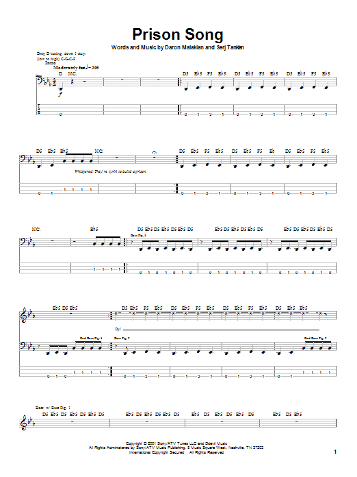 Download System Of A Down Prison Song sheet music and printable PDF score & Pop music notes