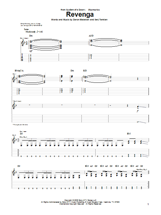 Download System Of A Down Revenga sheet music and printable PDF score & Rock music notes
