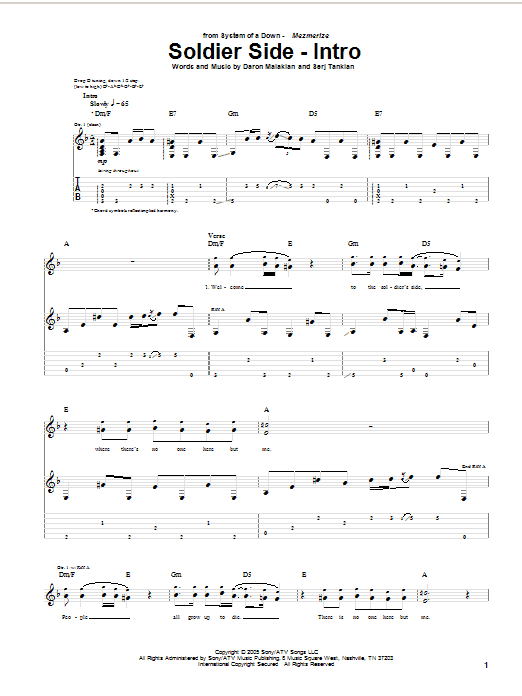 Download System Of A Down Soldier Side (Intro) sheet music and printable PDF score & Rock music notes
